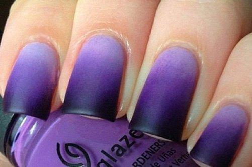 фиолетовый матовый дизайн ногтей фото