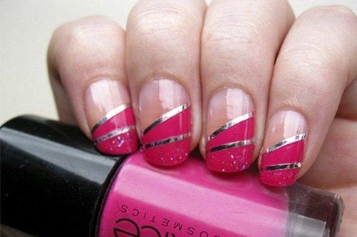 модный дизайн ногтей 2013 с серебристой лентой фото