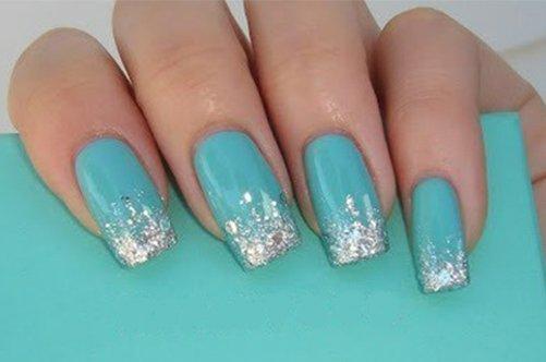 бирюзовый модный дизайн ногтей фото