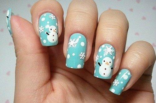 модный бирюзовый дизайн ногтей фото