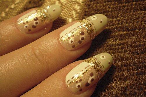 модный дизайн ногтей осень 2013 золотой френч фото
