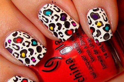 новые дизайны ногтей 2013 разноцветный леопард фото