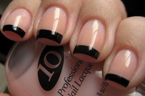 новый дизайн ногтей черный френч фото