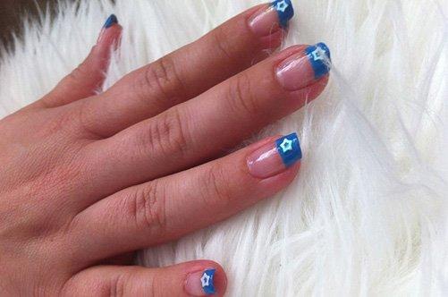 дизайн ногтей синий френч фото