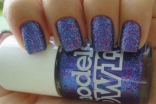 фиолтеовый с блестками дизайн ногтей 2013 фото