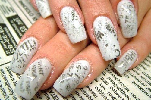 оригинальный дизайн ногтей газета фото