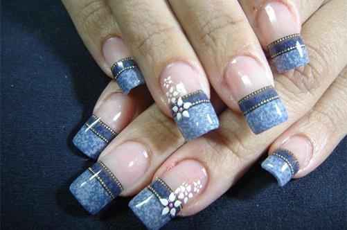 оригинальный дизайн ногтей джинсы фото