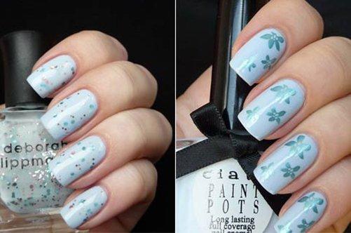 фото голубого дизайна ногтей с бабочками лето 2013