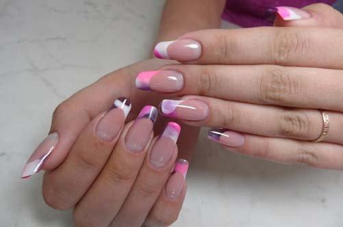 осенний дизайн акриловый ногтей 2013 розовый френч фото