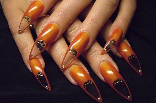 осенний прозрачный дизайн ногтей фото