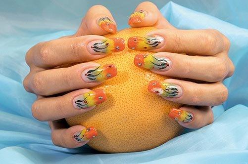 осенний дизайн акриловых ногтей фото