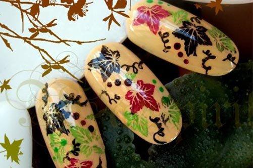 осенний дизайн ногтей накладные ногти фото