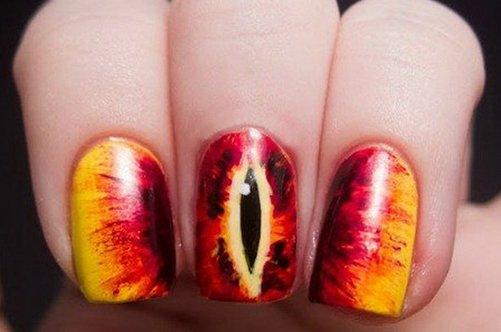 прикольный дизайн ногтей око мордора фото