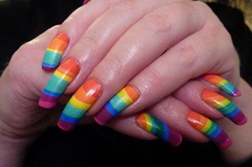 простой дизайн ногтей цветные полоски фото