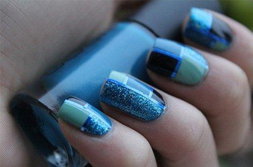 синий современный дизайн ногтей фото