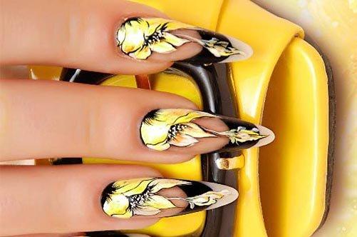 современный желтый дизайн ногтей фото