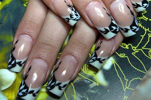 дизайн ногтей с помощью трафаретов фото