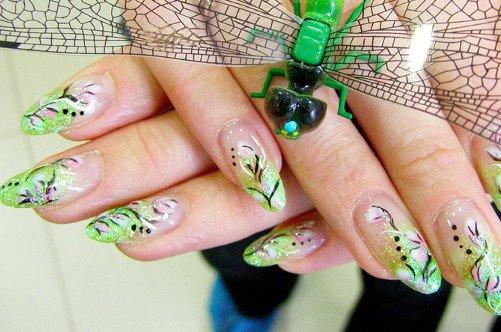 зеленый дизайн ногтей аквариум фото