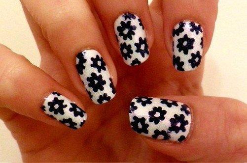 модный дизайн ногтей лето 2013 черные цветы фото
