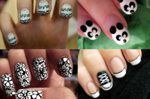 модный дизайн ногтей лето 2013 узоры на черном лаке фото