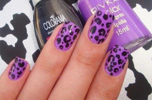 фото летнего дизайна ногтей фиолетовый леопард