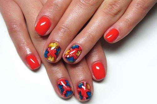 фото яркого красного летнего дизайна ногтей