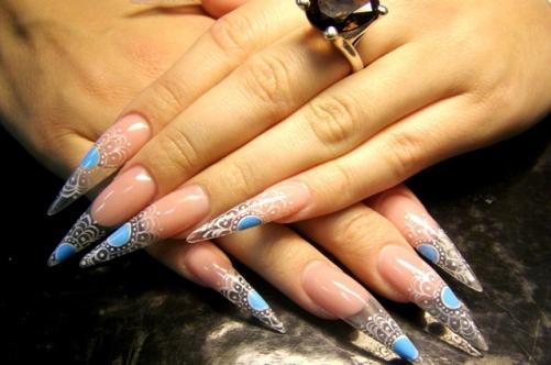 Фото красивый дизайн острых ногтей